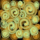 Άνευ ραφής σχέδιο για το κλωστοϋφαντουργικό προϊόν ή την ταπετσαρία Θολωμένη σύσταση των διαφανών κίτρινων σπειρών ελεύθερη απεικόνιση δικαιώματος