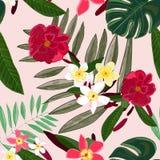 Άνευ ραφής σχέδιο για το υφαντικό σχέδιο κόκκινος τροπικός λουλ Frangipani διανυσματική απεικόνιση