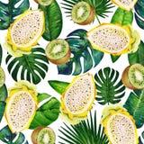 Άνευ ραφής σχέδιο γκουας με τα τροπικά φύλλα και τα φρούτα Σχέδιο 1 r διανυσματική απεικόνιση