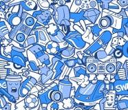 Άνευ ραφής σχέδιο γκράφιτι με το κολάζ εικονιδίων γραμμών ελεύθερη απεικόνιση δικαιώματος