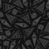 Άνευ ραφής σχέδιο γρήγορου φαγητού στο μαύρο υπόβαθρο διανυσματική απεικόνιση