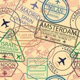 Άνευ ραφής σχέδιο γραμματοσήμων θεωρήσεων Υπόβαθρο με το γραμματόσημο αερολιμένων για το διαβατήριο Σκηνικό σημαδιών θεωρήσεων με διανυσματική απεικόνιση