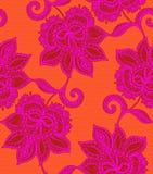 Άνευ ραφής σχέδιο δαντελλών με τα floral μοτίβα Μεξικάνικο ύφος Στοκ εικόνες με δικαίωμα ελεύθερης χρήσης