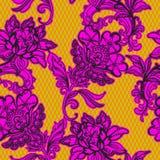 Άνευ ραφής σχέδιο δαντελλών με τα floral μοτίβα Μεξικάνικο ύφος Στοκ Εικόνες