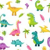 Άνευ ραφής σχέδιο δεινοσαύρων Κινούμενων σχεδίων χαριτωμένα μωρών παιδιά ιουρασικών άγριων ζώων τεράτων του Dino αστεία διανυσματ ελεύθερη απεικόνιση δικαιώματος
