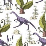 Άνευ ραφής σχέδιο δεινοσαύρων Compsognathus στοκ εικόνες