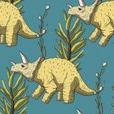 Άνευ ραφής σχέδιο δεινοσαύρων Triceratops στοκ φωτογραφίες