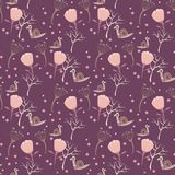 Άνευ ραφής σχέδιο διακοσμήσεων ανθών σαλιγκαριών διανυσματική απεικόνιση