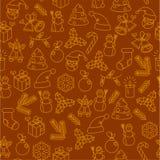 Άνευ ραφής σχέδιο εικονιδίων γραμμών Χριστουγέννων λεπτό Στοκ φωτογραφία με δικαίωμα ελεύθερης χρήσης