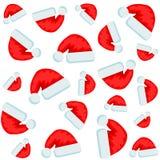 Άνευ ραφής σχέδιο εικονιδίων καπέλων Χαρούμενα Χριστούγεννας στο λευκό, διανυσματική απεικόνιση αποθεμάτων απεικόνιση αποθεμάτων
