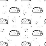 Άνευ ραφής σχέδιο εικονιδίων taco στο άσπρο υπόβαθρο Στοκ εικόνες με δικαίωμα ελεύθερης χρήσης