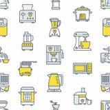 Άνευ ραφής σχέδιο εξοπλισμού συσκευών κουζινών μικρό με τα επίπεδα εικονίδια γραμμών διανυσματική απεικόνιση