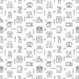 Άνευ ραφής σχέδιο εξοπλισμού συσκευών κουζινών μικρό με τα επίπεδα εικονίδια γραμμών Χ απεικόνιση αποθεμάτων