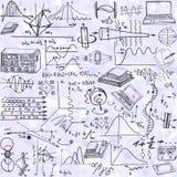 Άνευ ραφής σχέδιο επιστήμης με τα στοιχεία σκίτσων σχετικά με τη φυσική στοκ εικόνες