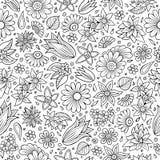 Άνευ ραφής σχέδιο εποχής άνοιξης κινούμενων σχεδίων χαριτωμένο συρμένο χέρι Στοκ εικόνες με δικαίωμα ελεύθερης χρήσης