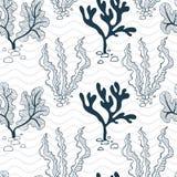 Άνευ ραφής σχέδιο εργοστασίων νερού και κυμάτων διανυσματική απεικόνιση