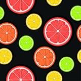 Άνευ ραφής σχέδιο εσπεριδοειδών Πράσινες, κόκκινες και κίτρινες φέτες εσπεριδοειδών σε ένα μαύρο υπόβαθρο Επιλογή φρούτων Διανυσμ διανυσματική απεικόνιση