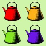 Άνευ ραφής σχέδιο ζωηρόχρωμα teapots διανυσματική απεικόνιση