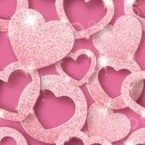 Άνευ ραφής σχέδιο ημέρας βαλεντίνων με τις λάμποντας καρδιές Απεικόνιση καρτών διακοπών στο ρόδινο υπόβαθρο ελεύθερη απεικόνιση δικαιώματος