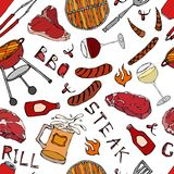 Άνευ ραφής σχέδιο θερινό BBQ του κόμματος σχαρών Γυαλί κόκκινου, άσπρου VineSteak, λουκάνικο, πλέγμα σχαρών, λαβίδες, δίκρανο συρ διανυσματική απεικόνιση