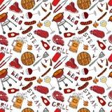 Άνευ ραφής σχέδιο θερινό BBQ του κόμματος σχαρών Γυαλί κόκκινου, άσπρου VineSteak, λουκάνικο, πλέγμα σχαρών, λαβίδες, δίκρανο συρ απεικόνιση αποθεμάτων