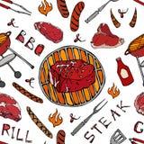 Άνευ ραφής σχέδιο θερινό BBQ του κόμματος σχαρών Μεγάλη μπριζόλα Mignon διχτυού, λουκάνικο, πλέγμα σχαρών, λαβίδες, δίκρανο, πυρκ απεικόνιση αποθεμάτων
