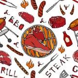 Άνευ ραφής σχέδιο θερινό BBQ του κόμματος σχαρών Μεγάλη μπριζόλα Porterhouse, λουκάνικο, πλέγμα σχαρών, λαβίδες, δίκρανο, πυρκαγι διανυσματική απεικόνιση