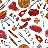 Άνευ ραφής σχέδιο θερινό BBQ του κόμματος σχαρών Μπριζόλα, λουκάνικο, πλέγμα σχαρών, λαβίδες, δίκρανο, πυρκαγιά, κέτσαπ Συρμένο χ ελεύθερη απεικόνιση δικαιώματος