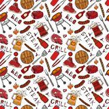 Άνευ ραφής σχέδιο θερινό BBQ του κόμματος σχαρών Μπριζόλα, λουκάνικο, πλέγμα σχαρών, λαβίδες, δίκρανο, πυρκαγιά, κέτσαπ Συρμένο χ διανυσματική απεικόνιση
