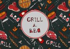 Άνευ ραφής σχέδιο θερινό BBQ του κόμματος σχαρών Μπριζόλα, λουκάνικο, πλέγμα σχαρών, λαβίδες, δίκρανο, πυρκαγιά, κέτσαπ Μαύρο υπό ελεύθερη απεικόνιση δικαιώματος