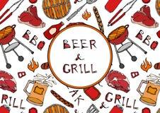 Άνευ ραφής σχέδιο θερινό BBQ του κόμματος σχαρών Μπύρα, μπριζόλα, λουκάνικο, πλέγμα σχαρών, λαβίδες, δίκρανο, πυρκαγιά, κέτσαπ Συ απεικόνιση αποθεμάτων
