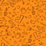 Άνευ ραφής σχέδιο κήπων κινούμενων σχεδίων χρώματος mochrome αστείο, πορτοκάλι ελεύθερη απεικόνιση δικαιώματος