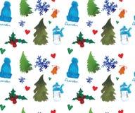 Άνευ ραφής σχέδιο καλής χρονιάς, χειμερινό θέμα Χριστουγέννων, όμορφο υπόβαθρο Watercolor διανυσματική απεικόνιση