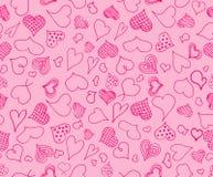 Άνευ ραφής σχέδιο καρδιών ημέρας βαλεντίνων doodles Ρομαντική συλλογή αυτοκόλλητων ετικεττών Συρμένο χέρι διάνυσμα επίδρασης ελεύθερη απεικόνιση δικαιώματος