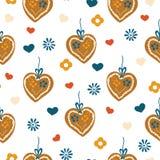 Άνευ ραφής σχέδιο καρδιών μελοψωμάτων για Oktoberfest διανυσματική απεικόνιση