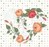 Άνευ ραφής σχέδιο καρδιών με τα τριαντάφυλλα και τα σημεία Στοκ Εικόνες