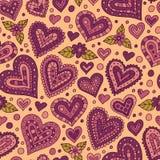 Άνευ ραφής σχέδιο καρδιών Doodle Στοκ Εικόνα
