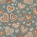 Άνευ ραφής σχέδιο καρδιών Doodle Στοκ φωτογραφία με δικαίωμα ελεύθερης χρήσης