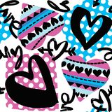 Άνευ ραφής σχέδιο κινήτρου κοριτσιών αγάπης Φοβιτσιάρης τυπωμένη ύλη μπλουζών απεικόνιση αποθεμάτων