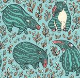 Άνευ ραφής σχέδιο κινούμενων σχεδίων tapirs Τα πράσινα tapirs με τα ελαφριά λωρίδες βγάζουν φύλλα επίσης corel σύρετε το διάνυσμα Στοκ Φωτογραφίες