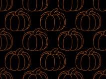 Άνευ ραφής σχέδιο κολοκύθας στο μαύρο υπόβαθρο σημειώσεις σεληνόφωτου αποκριών ροπάλων ανασκόπησης διάνυσμα απεικόνιση αποθεμάτων
