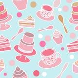 Άνευ ραφής σχέδιο κομμάτων κέικ Στοκ Εικόνες