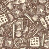 Άνευ ραφής σχέδιο κομμωτηρίων κινούμενων σχεδίων hand-drawn Στοκ φωτογραφία με δικαίωμα ελεύθερης χρήσης