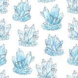 Άνευ ραφής σχέδιο κρυστάλλων συστάδων Watercolor και μελανιού μπλε ελεύθερη απεικόνιση δικαιώματος