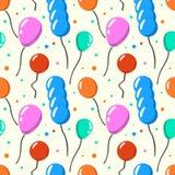 Άνευ ραφής σχέδιο κόμματος baloon Άσπρο υπόβαθρο εορτασμού μπαλονιών κινούμενων σχεδίων απεικόνιση ελεύθερη απεικόνιση δικαιώματος