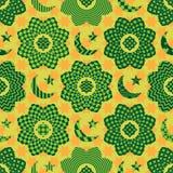 Άνευ ραφής σχέδιο κύκλων λουλουδιών περικοπών στοιχείων Ramadan διανυσματική απεικόνιση