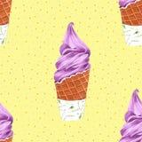 Άνευ ραφής σχέδιο κώνων παγωτού για τη συσκευασία, χέρι Watercolor που σύρεται διανυσματική απεικόνιση