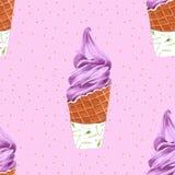 Άνευ ραφής σχέδιο κώνων παγωτού για τη συσκευασία, χέρι Watercolor που σύρεται απεικόνιση αποθεμάτων
