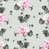 Άνευ ραφής σχέδιο λουλουδιών watercolor γερανιών απεικόνιση αποθεμάτων