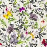Άνευ ραφής σχέδιο - λουλούδια, πεταλούδες Θερινό floral σχέδιο στα ουδέτερα χρώματα κρητιδογραφιών watercolor Στοκ εικόνα με δικαίωμα ελεύθερης χρήσης